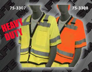 Safety Vests - ANSI Class 3 Heavy-Duty Short-Sleeve Snap Front Vests