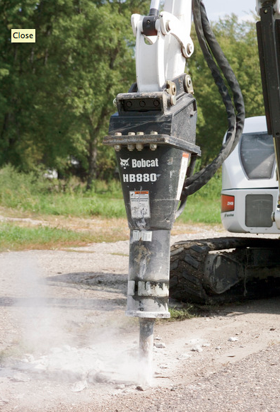Picture of Hydraulic Breaker Attachment Rental for Bobcat Compact Excavators