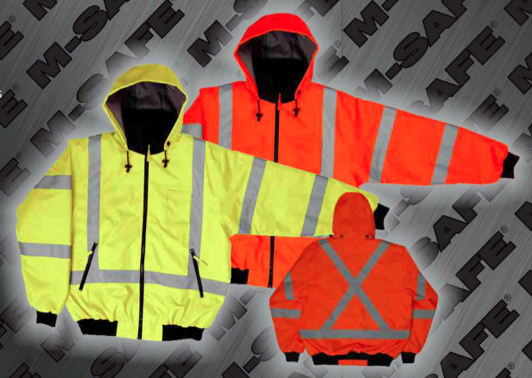 Safety Jackets - ANSI 107-2010 Class 3 2-in-1 Bomber Jacket with X-Striping