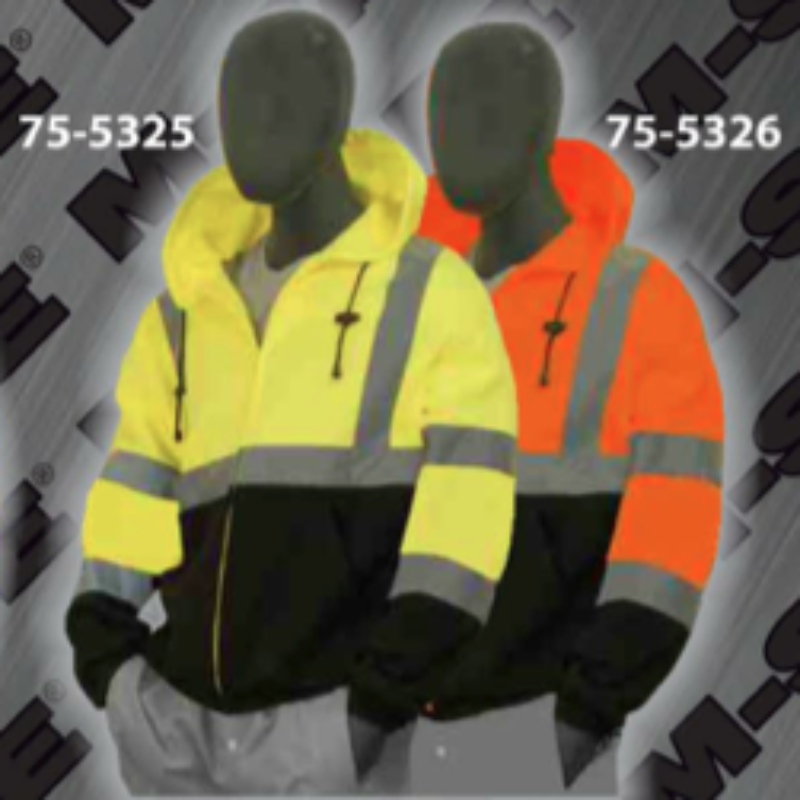 Safety Sweatshirts - ANSI Class 3 Hooded, Zipper Front Sweatshirt