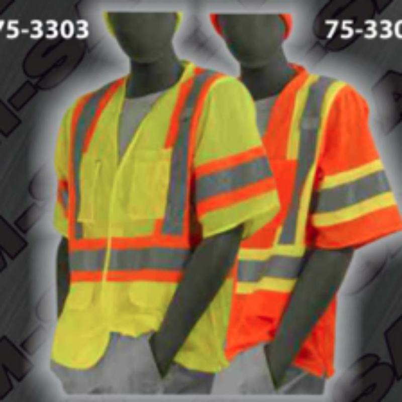 Safety Vests - ANSI Class 3 Short-Sleeve Velcro Front Vests