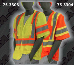 Safety Vests - ANSI Class 3 Deluxe Short-Sleeve Velcro Front Vests