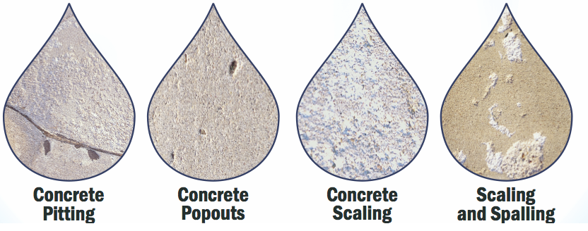 Picture of Concrete Pitting, Concrete Popouts, Concrete Scaling and Concrete Spalling