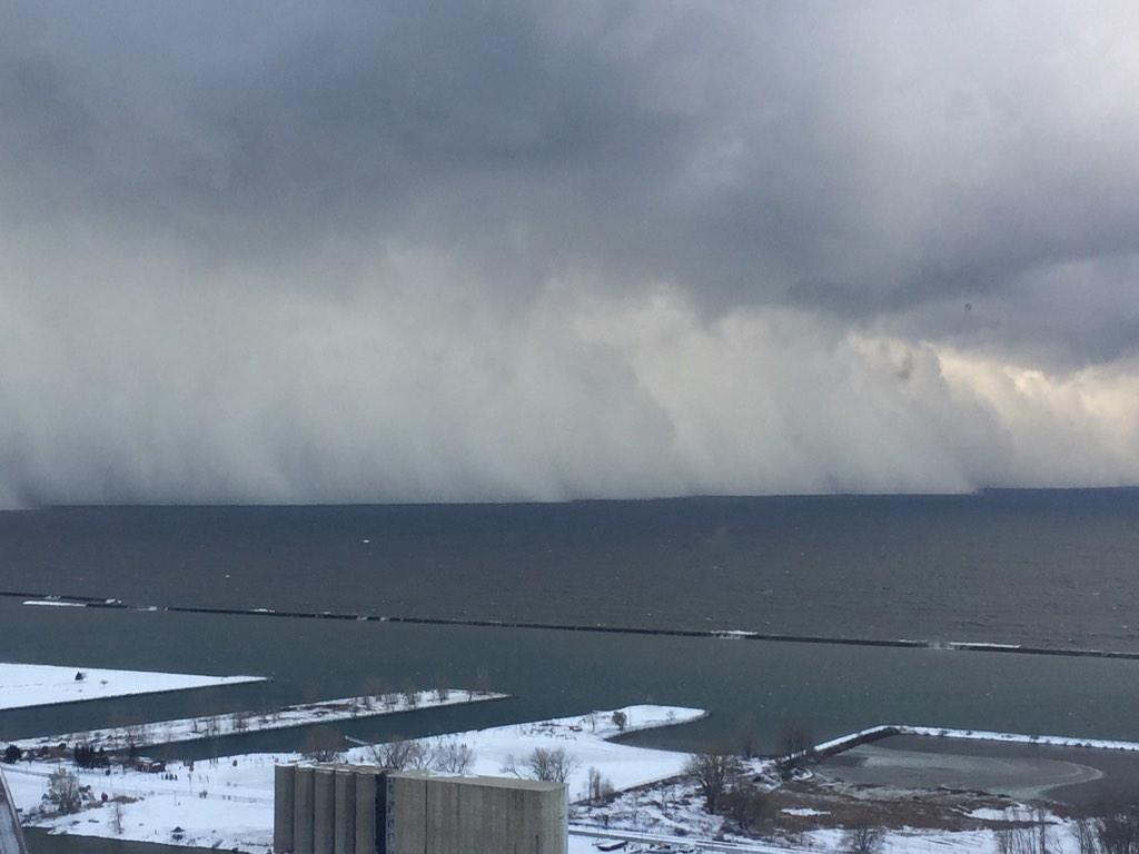 Photo Taken of Wall of Snow from the Lake Affect