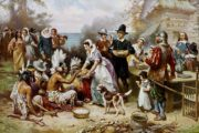 The First Thanksgiving 1621 by Jean Leon Gerome Ferris in 1899