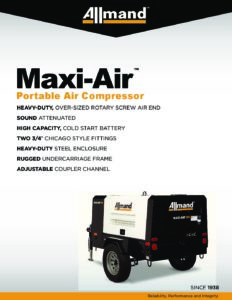Product Sheet And Brochure 185 Cfm Air Compressor Al Allmand