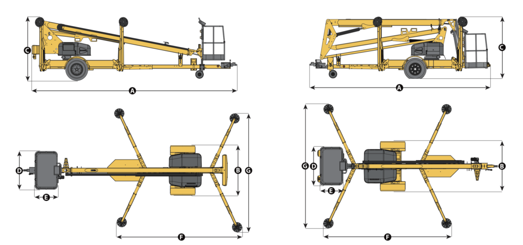Duke Rentals - Specifications for 45' TOWABLE BOOM RENTAL | HAULOTTE 4527 A - The Duke Company in Rochester, Ithaca, Dansville and Auburn NY - Duke Rentals