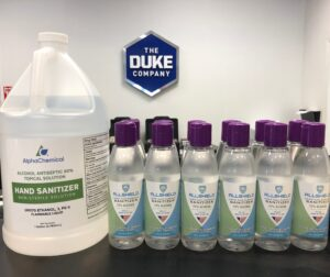 hand sanitizer in stock in 8oz gel and 1 gallon liquid.
